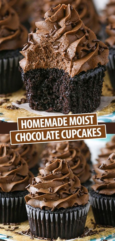 These Moist Cupcakes are completely from scratch and full of chocolate flavor! The cupcake is so moist, it melts in your mouth and the frosting is made with real melted chocolate for a silky smooth, super chocolatey frosting you won't want to stop eating! Chocolate Flavors, Chocolate Desserts, Melting Chocolate, Chocolate Cake, Chocolate Muffins Moist, Chocolate Frosting, Food Cakes, Fun Cupcakes, Cupcake Cakes