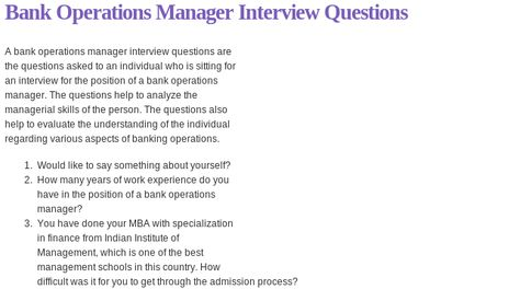 Bank Operations Manager Interview Questions Read more @    www - administrative assistant interview questions