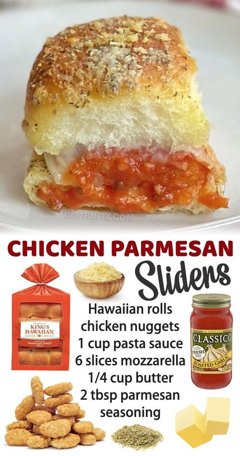 These baked chicken parmesan sliders are always a hit! My kids love them, and they are super quick and easy to make with just a few simple ingredients including Hawaiian rolls, frozen chicken nuggets, marinara, cheese, butter, garlic powder and Italian seasoning. They make for a great last minute dinner, after school snack or lunch on the weekends (especially when your kids have friends over). My picky eaters love them! Serve with salad or a side of veggies to make a complete meal.
