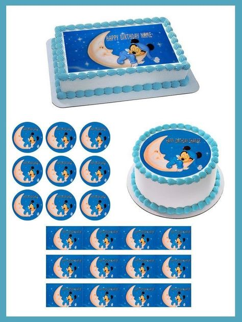 Peachy Details About Baby Mickey Edible Birthday Cake Topper Or Cupcake Funny Birthday Cards Online Necthendildamsfinfo