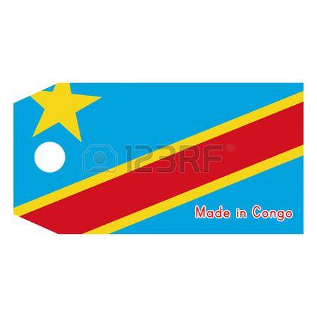 Ilustración De La Bandera Etiqueta De Precio Con La Palabra Hecho En Congo Republica Democratica Del Congo Vector Ilustraciones