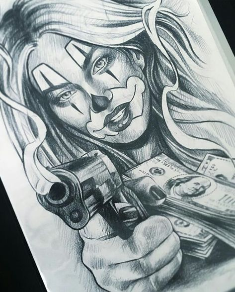 Clown girl by @cariditattoo #mexicanstyle_art #art #arte #drawing #payasa #clowngirl