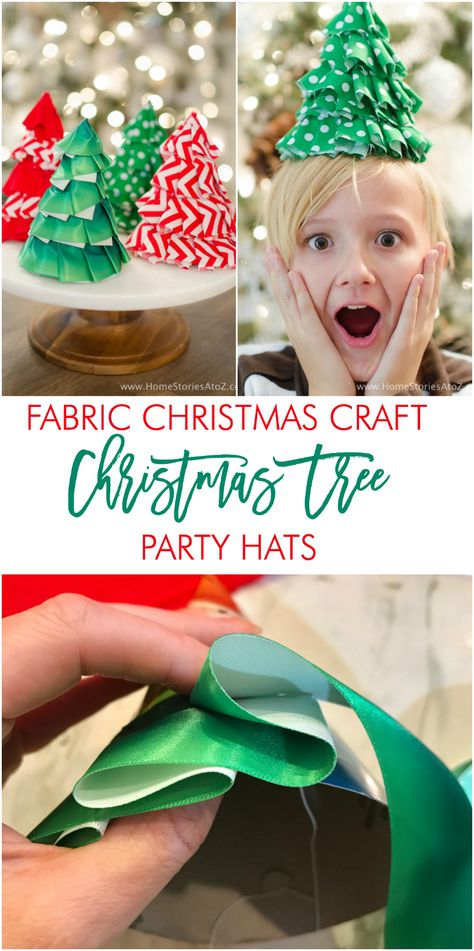 c075e136f64e9 Fabric Christmas Craft Idea  DIY Christmas Tree Party Hats ...
