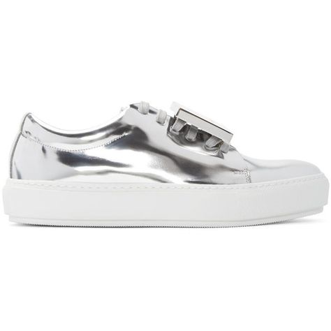 Acne Studios Silver Metallic Leather Adriana Sneakers (€400) ❤ liked on  Polyvore featuring shoes, sneakers, silver, leather lace up sneakers, rubber  sole ... 09b09c7d79b