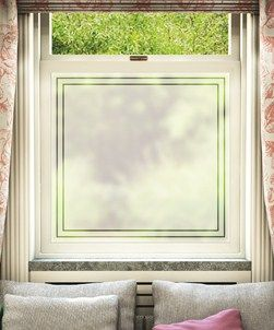 Frosted window film with decorative border. Thinking of this for the kitchen cupboard.