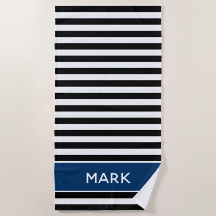 Navy Black And White Striped Name Cabana Stripe Beach Towel