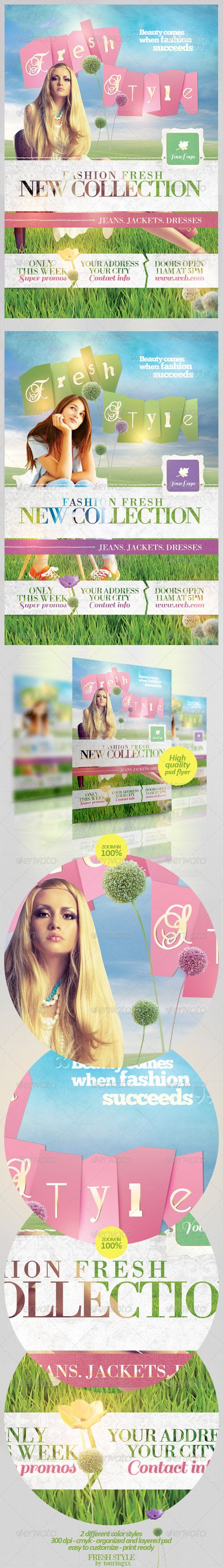 Fresh Style Flyer Template / $6. *** This flyer is perfect for the promotion of Shops/Boutiques, Sales/Promotions, Fashion Shows, New Collections or whatever you want!.***