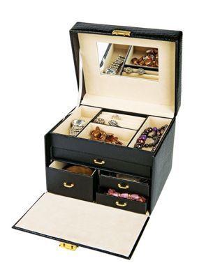 Buy Black Crocodile Small Four Drawer Jewellery Box At Argos Co Uk