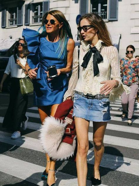 Anna Dello Russo (left) in a Lanvin dress spotted on the street at Milan Fashion Week. Photographed by Phil Oh. Love the look with the jeans mini on the right.
