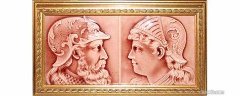 American Encaustic Tiling Company Tile, Pattern or Item: Warrior Profile,Rose,Frame, Description: 6 x 6 In.