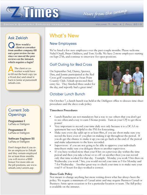 new employee newsletter