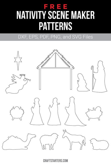 Free nativity scene maker outline patterns in a variety of formats including images, vector files, and printable versions. Use them for crafting, cutting machines, and more. Christmas Yard Art, Christmas Wood Crafts, Outdoor Christmas Decorations, Christmas Crafts, Diy Christmas Nativity Scene, Christmas Printables, Outdoor Nativity Scene, Diy Nativity, Nativity Scenes