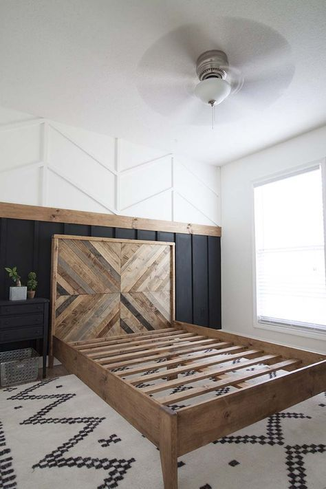DIY Reclaimed Wood Bed West Elm Inspired Our West Elm inspired DIY reclaimed wood bed. The post DIY Reclaimed Wood Bed West Elm Inspired appeared first on Wood Ideas. Reclaimed Wood Beds, Reclaimed Wood Bedroom Furniture, Wood Wood, Wood On Walls, Master Bedroom Wood Wall, Living Room Accent Wall, Repurposed Wood, Bed Wall, Barn Wood