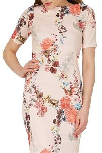 Tommy Hilfiger NWT Beautiful PEACH Floral-Print Cold-Shoulder Dress 10 12 14