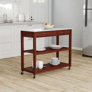 Porch Den Calvert Cherry Finish Wood Kitchen Cart Island In 2020 Kitchen Furniture Wood Kitchen Kitchen Tops Granite