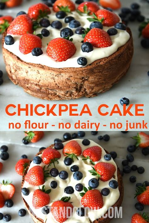 This chickpea cake is yummy and full of healthy fiber.  With no flour and no dairy, it is good for vegan or gluten-free diets. Top it with cashew coconut frosting and fresh fruit for a simple and pretty dessert.  #cake #healthy #vegan #glutenfree #chickpea