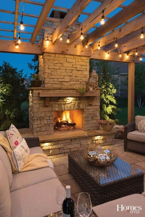 Outdoor string light inspiration with photo from Kansas City Homes and Style A step-by-step tutorial how to hang outdoor cafe' style string lights for your covered patio or deck. Create an outdoor living space you love. Outdoor Fireplace Designs, Backyard Fireplace, Fireplace Outdoor, Outside Fireplace, Outdoor Cafe, Outdoor Decor, Outdoor Spaces, Outdoor Seating, Outdoor Patio Lighting