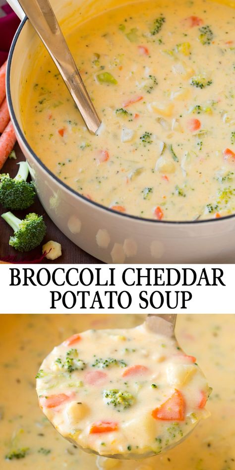 Cheddar Broccoli Potato Soup - this is creamy comforting and utterly delicious! Made with broccoli, cheese and potatoes and is sure to please even the fussiest of eaters. Grab a bowl a get cozy! #cookingclassy #soup #cheesesoup #comfortfood #chowder #broccoli #potato #vegetarian