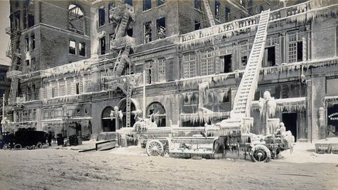 """""""The Monticello Hotel of Norfolk, Virginia was a historic hotel built in 1898. The original hotel was destroyed by a fire on New Years Day in 1918, a day so cold that the water from the fire equipment froze before it could reach the fire.""""    - Wikipedia"""
