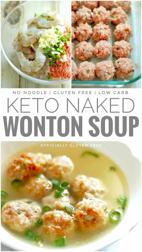 dinner recipes for family main dishes Gluten Free & Keto Naked Wonton Soup Low Carb Recipes, Diet Recipes, Cooking Recipes, Healthy Recipes, Good Soup Recipes, Health Soup Recipes, Easy Shrimp Recipes, Free Keto Recipes, Cookbook Recipes