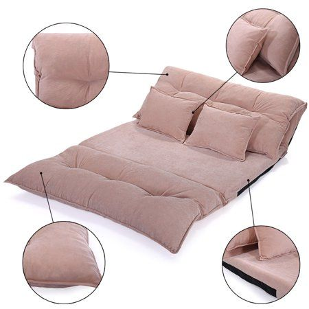 94652513af3c Free Shipping. Buy Jaxpety Beige Folding Lounge Chaise Video Gaming Sofa  Bed Lazy Couch w/ 2 Pillow at Walmart.com