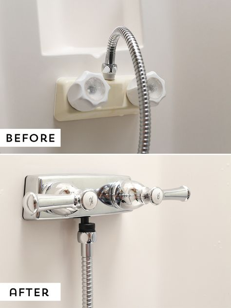 How to Replace an RV Shower Faucet Are you looking for an easy update to do in your RV? Consider upgrading your RV shower faucet, it's an easy project that'll make a world of a difference! Diy Camper, Rv Campers, Teardrop Campers, Popup Camper, Teardrop Trailer, Happy Campers, Rv Bathroom, Concrete Bathroom, Bathroom Renos