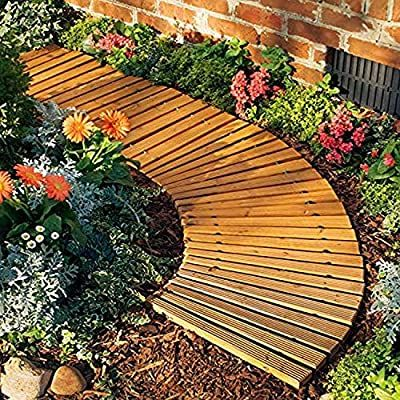 Amazon Com Plow Hearth 52128 Roll Out Wooden Curved Garden Pathway 4 Feet Natural Cedar Garden Structures Ga In 2020 Cedar Garden Wood Walkway Wooden Pathway