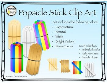 Popsicle Stick Clip Art Set By Math4fun This Clip Art Resource Includes 35 Png Images That You Can Use For Products Clip Art Math Counting Activities Art Set