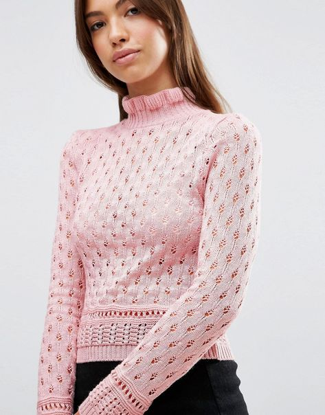 Image 3 of ASOS Jumper In Pointelle With Ruffle Neck Detail