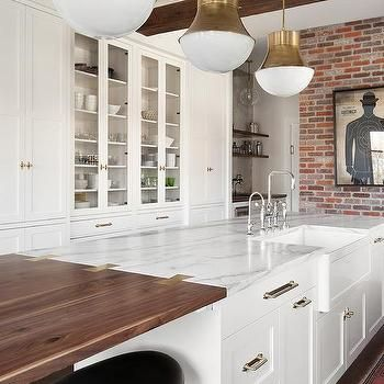 Marble Kitchen Island With Wood Extension Countertop White