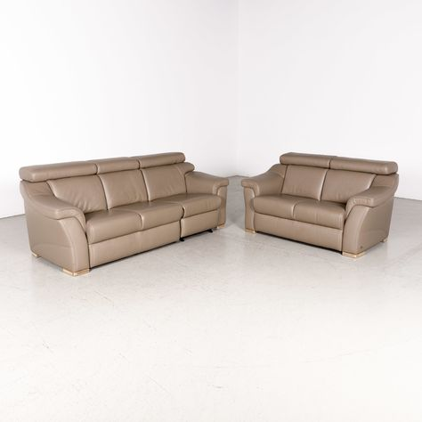 Leather Sofa Set Brown Genuine