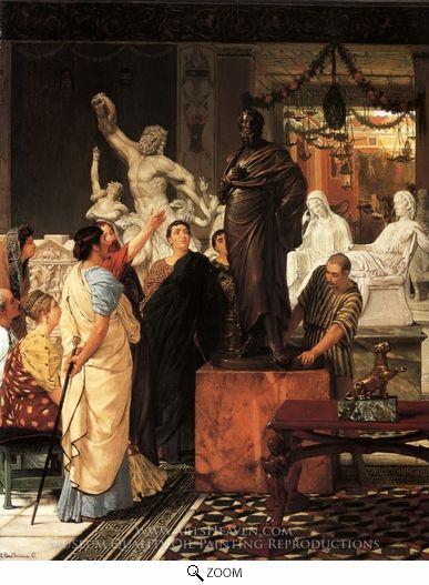 ANCIENT ROMAN ART GALLERY CAESAR AUGUSTUS PAINTING ROME ART REAL CANVAS PRINT