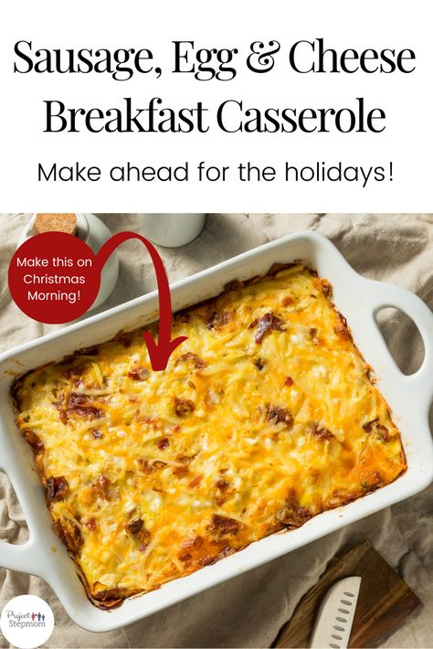 Sausage, Egg and Cheese inside a breakfast casserole is the perfect breakfast for meal prep, weekend brunch or hosting company.  #breakfast #makeaheadrecipes #breakfastcasserole #mealprep #brunch #christmasbreakfast