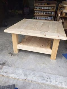 Square Coffee Table W Planked Top Free Diy Plans Large