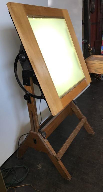 Rare Hamilton Lightbox Drafting Table And Drawer Cast Iron And Oak Drafting Table Light Box Oak