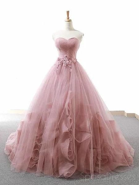 Pink Ball Gown Sweetheart Tulle Applique Wedding Dress – … – New Ideas – Wedding Gown Blush Prom Dress, Pretty Prom Dresses, Sweet 16 Dresses, Tulle Prom Dress, Blush Gown, Tulle Ball Gown, Sweet Dress, Dress Lace, Quince Dresses