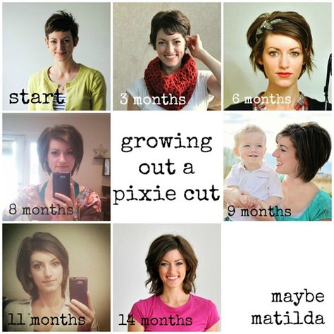 Blog post on growing out a pixie cut. Trying to decide just how short i'm willing to go.  I've had my hair about the length hers is in the 3 month grow out picture. Thinking of going shorter.