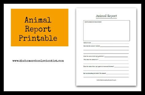 animal report printable TheHomeschoolScientist Science - animal report template