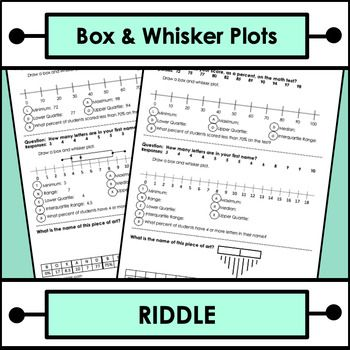 Box And Whisker Plots Riddle Worksheet By Try Angle Math Tpt Riddles Math Riddles Worksheets
