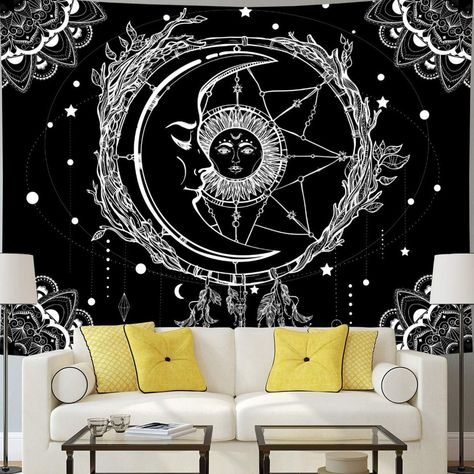 Trippy Tapestry Sun and Moon Tapestry Colorful Bohemian Mandala Hippy Tapestry Psychedelic Celestial Tapestry Wall Hanging for Home Decor by ShopKorner on Etsy