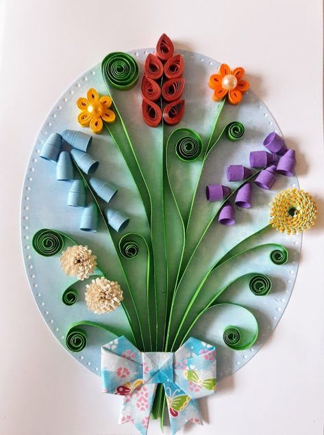 Beautiful handmade quilled card with multicolor flowers. Each detail on this card is handmade. The photo shows a sample, your card will be very similar because I can not make exactly the same card. Perfect greeting card for various occasions like Birthday, Valentine Day, Wedding, Mothers Day, The
