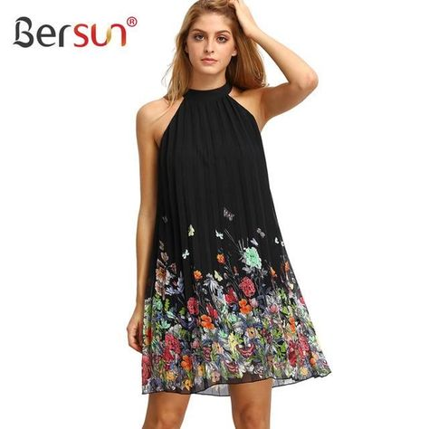 3558945c5d24 Bersun Summer Dress O-Neck Sleeveless Casual Sundress Pleated Floral Print  Shift Dresses