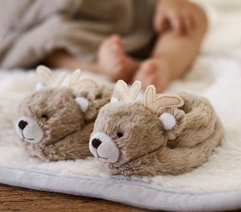 Gifts for Baby's First Christmas: Nursery fur reindeer slippers