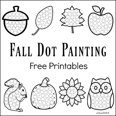 These Fall Dot Painting worksheets are a fun mess free painting activity for young kids that work on hand-eye coordination and fine motor skills. Grab your free printable now! Toddlers and preschoolers love them. They work great with Do a Dot Markers. Fall Preschool Activities, Painting Activities, Color Activities, Preschool Crafts, Toddler Activities, Preschool Names, Preschool Learning, Do A Dot, Dot Painting