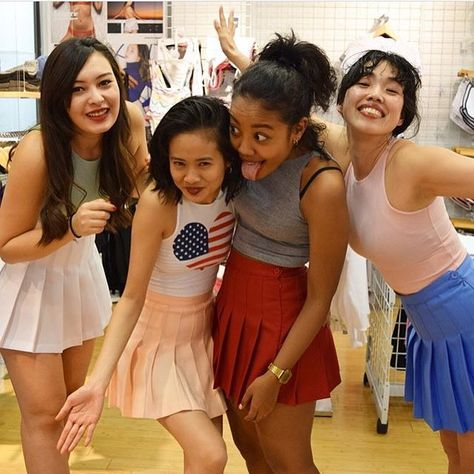 """6058e50116 The """"Ameapa Girls"""" (AA Japan) pose in 4 unique colors of American Apparel  Tennis Skirts: White, Sunset (peach), American Beauty (red), and Cornflower  (blue) ..."""