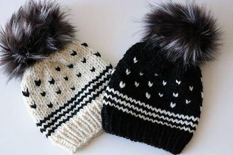 876dc8f139f Knitted Fair Isle Knit Beanie Hat with Faux Emu Fur Pom Pom ...