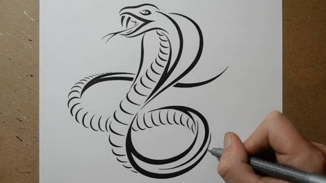 How To Draw A Cobra Snake Tribal Tattoo Design Style With
