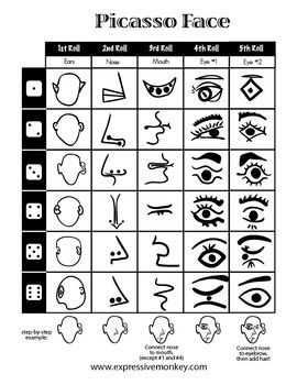 Picasso Face Dice Drawing Sheet for when my dream of being an art teacher comes true! Pablo Picasso, Kunst Picasso, Art Picasso, Picasso Style, Picasso Nails, Picasso Drawing, Drawing Art, Art Sub Plans, Art Lesson Plans