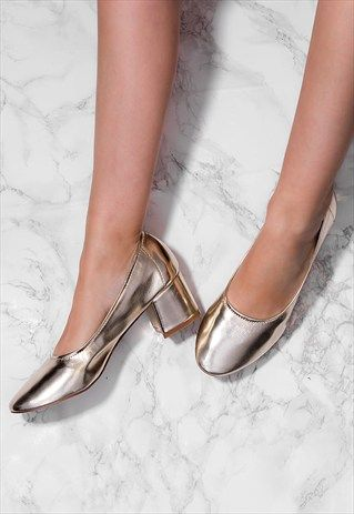 6276b5547df WREN+Block+Heel+Court+Shoes+-+Gold+Leather+Style