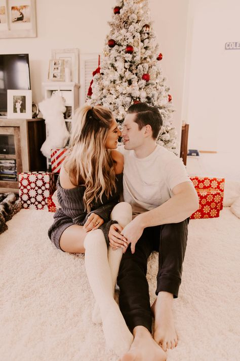 in home Christmas photoshoot, lifestyle shoot, couples Christmas tree shoot, Christmas tree inspo, Pinterest couple goals, Christmas tree photos, in home photo session, what to wear to your in home photo session, sweater weather, nanamacs, blogger Christmas, white flocked Christmas tree